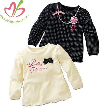 100% Cotton Latest Design Style Baby Girls Tops