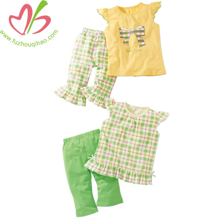 Baby Girl Costume Gingham Print Capri Set
