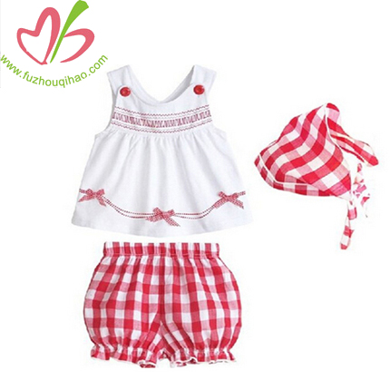 Mix Baby White Tank Top and Plaid Bloomers with kerchief Set