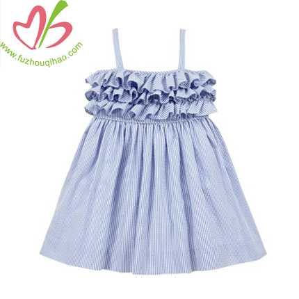 Girls' Dress Seersucker Strap Ruffle Latest Design
