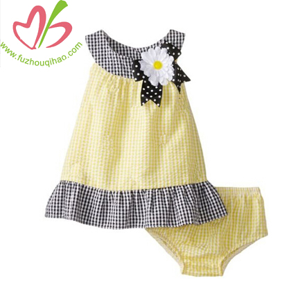 Seersucker Flower Bow Sleeveless Baby Clothes Clothing