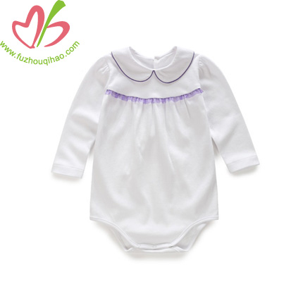 Long Sleeves White Baby Girl's Romper