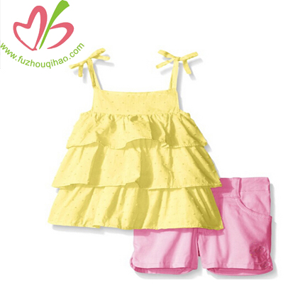 Baby Girl Sleeveless Strap Ruffle Layers Short Sets