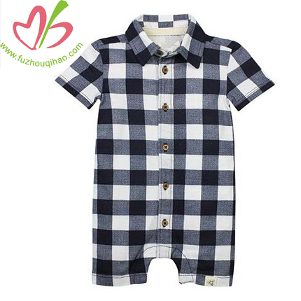 Plaid Baby Boy Romper Gingham