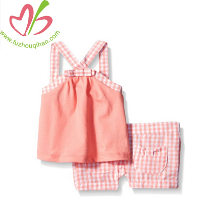 Children Wear Baby Tee and Gingham Shorts Set 3 Months