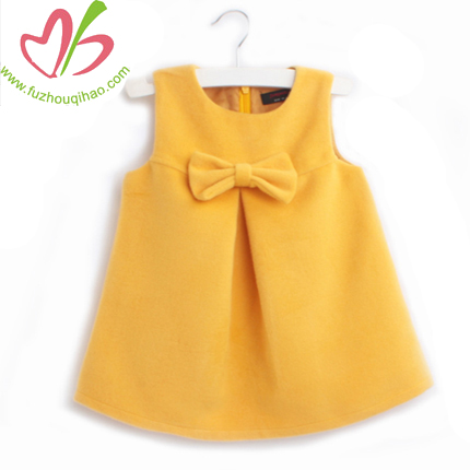 Baby Boutique Girls Yellow/Red Sleeveless Dress with Bow