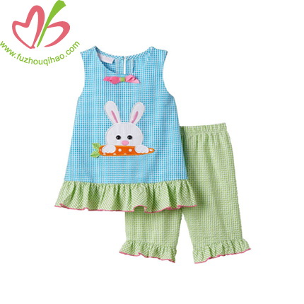 Bunny Applique Gingham Girl's Clothing Set