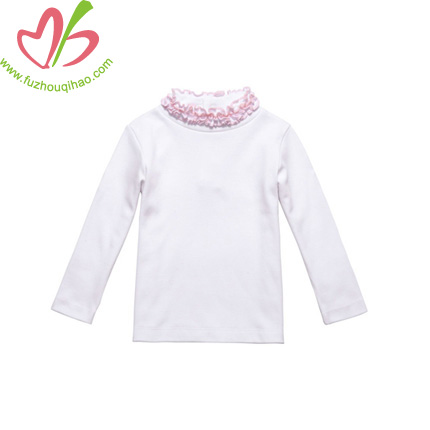 White Kids Girl's Blouse with Ruffles on Neck