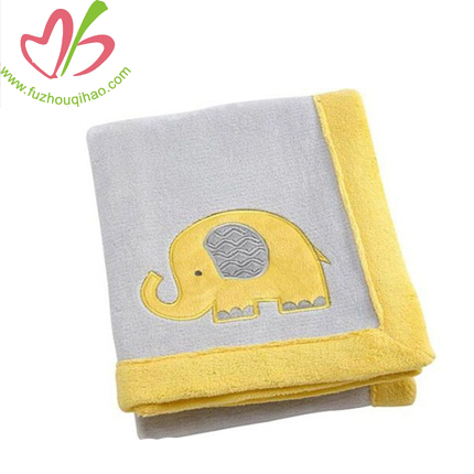 Gray Elephant Time Yellow Applique Warm Fleece Baby Crib Blanket Nurse