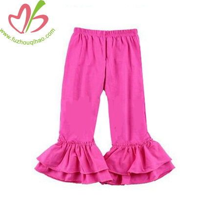 Solid Color Girls Double Ruffle Pants