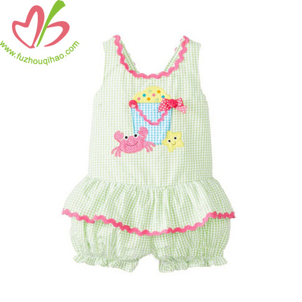 Summer Baby Girls Seersucker Romper Set-Green