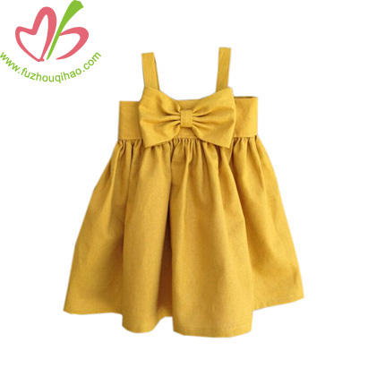 Little Girl's Party Dress-Mustard