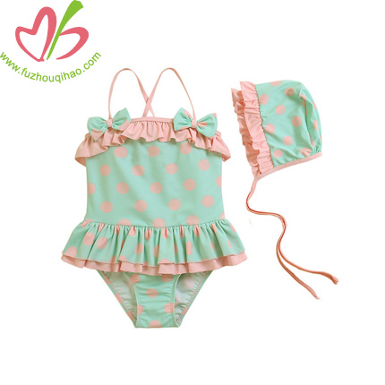 Polkadot Infant Swimsuits With Caps