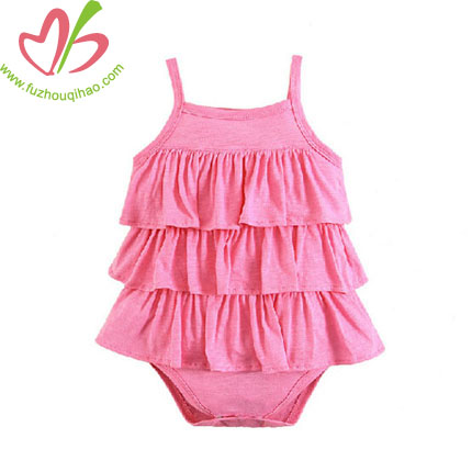 Multi Ruffles Infant Sleeveless Playsuit-purple,pink,hot pink