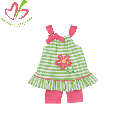 Green/ Hot Pink Kids Girls Vest Set