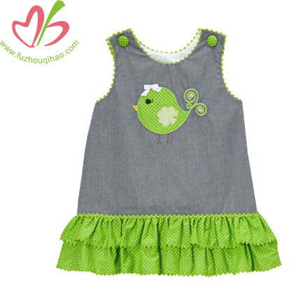 Cotton Shift Dress Overalls With Applique