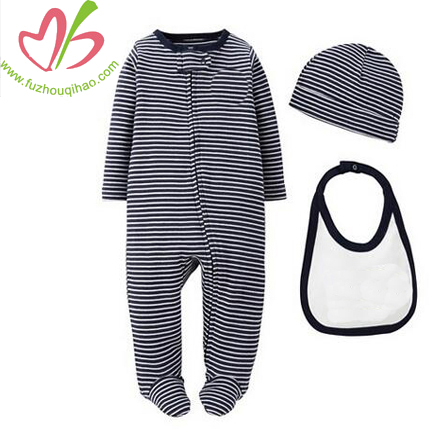 3 Piece Baby Clothing Onesie Stripe Pyjams With Bib & Hat