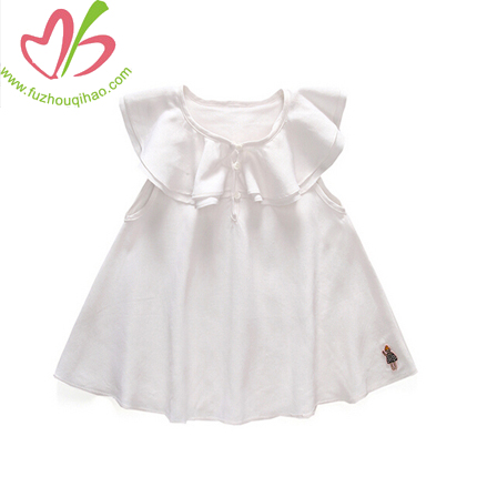 Ruffle Cotton Baby Girl Dresses,Sleeveless Children Garment
