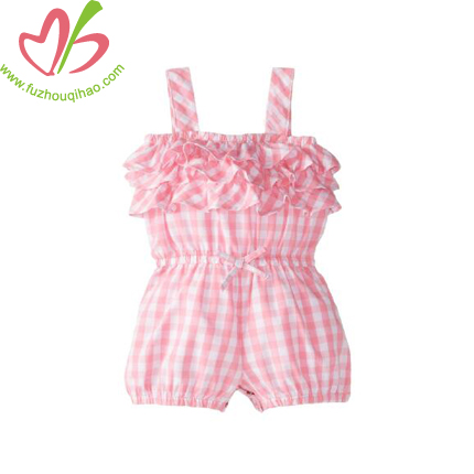Summer Plaid Girl's Playsuits One Piece Suit