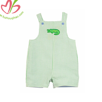 Seersucker Boy's Suspenders Romper with Applique on Chest