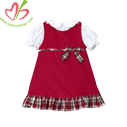 Corduroy Girl's Dress Set with White Tees