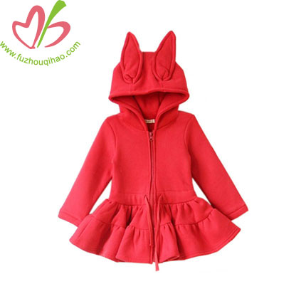 Fox Design Fleece Girl's Coat with Zipper