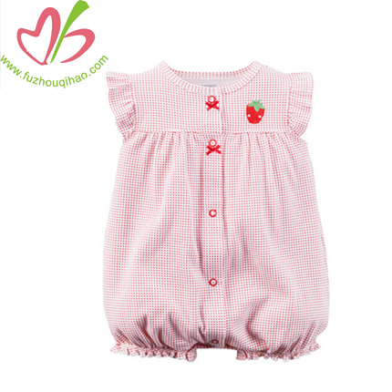 Summer Wholesale High Quality Sleeveless Baby Romper Strawberry