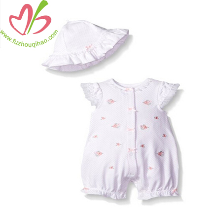 Soft Flower Print Baby Rromper Set With Hat