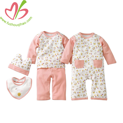 Baby Long-Sleeve Sweater Coverall Longall Cap&Jacket Set