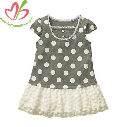 Girls' Striped Dress with Lace A-line design