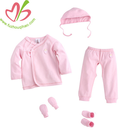 Newborn Baby 5pcs Romper Bib&Mitten Hat Outfits Set