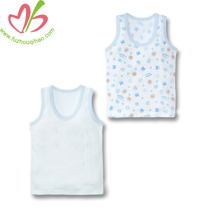 Breathable Comfortable Cotton Sleeveless Printing Round Collar Vest