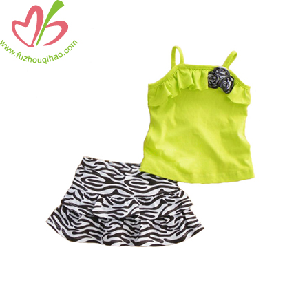 Summer Lime Girl's Skirt Set with Printing