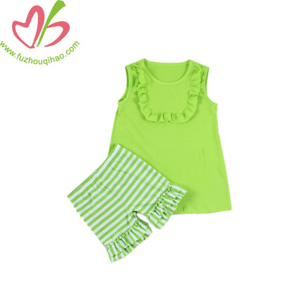 Girl's Bibs Top Suits with Stripe Shorts