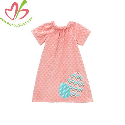 Easter Egg Applique Minky Dots Girls' Dress