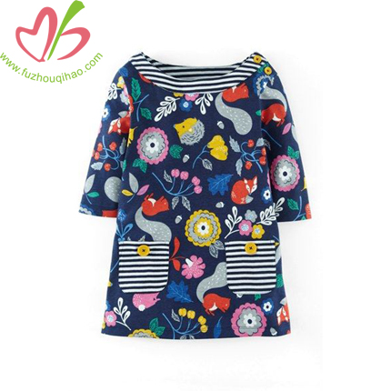 Full Floral Printing Girl's Frock Design Dress