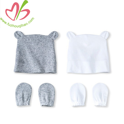 OEM Organic Natural Baby 2 pieces Hat&Bib Set