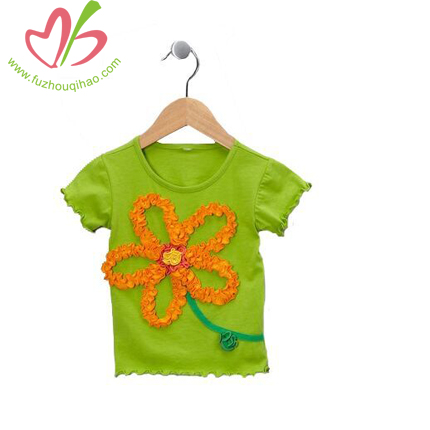100% Cotton Girl's Flowers Tees