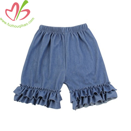Girl's Denim Ruffle Shorts