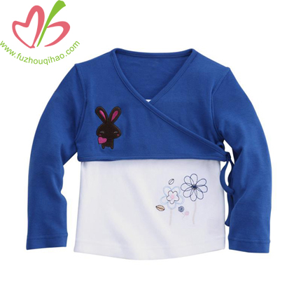 Two Colors Combine Baby Sewing Blouse
