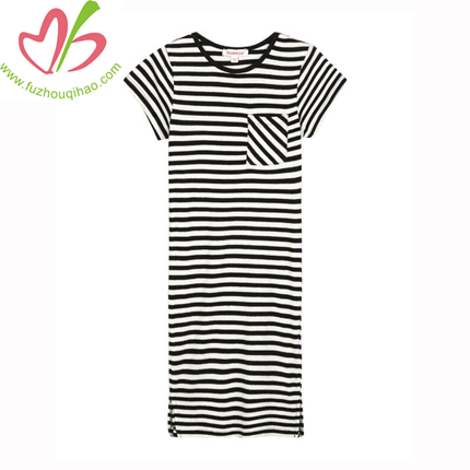 Wholesale Fashion Design Stripes Fancy Girl Nighties Western Night Dress