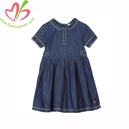 Latest Baby Girls New Style Dress Denim And Mesh Split Dresses