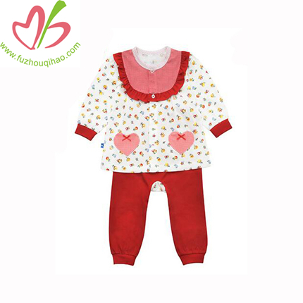 Wholesale Newborn Baby Clothes Sets Girls Kids Winter Ruffled Pants+Shirts Set