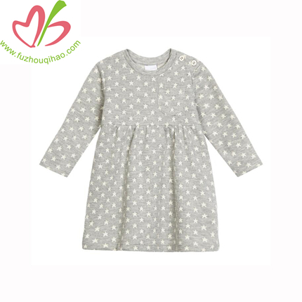 New Arrival Children Clothing Dress Winter Girl Thicken Casual Kids Dresses with Dot Printing