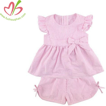 Baby Girls Cotton Seersucke Pink 2pcs outfit