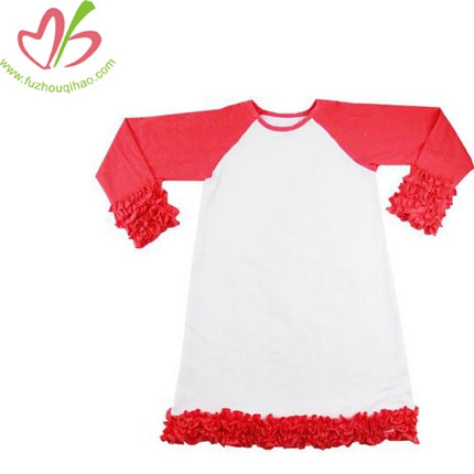 Long Sleeve Girl's Ruffle Raglan Tees