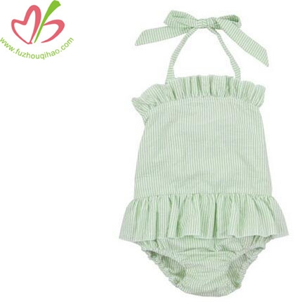 Lovely Baby Shoulder-Straps Onesies Green color Bubbles