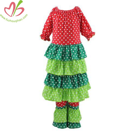 Christmas Design Girls Dress Set with Full Polkadot
