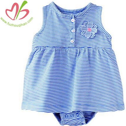 Baby Girl's Blue Stripe Flowers Onesies