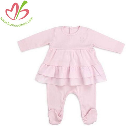 100%Cotton Baby Girl's Ruffle With Socks Romper